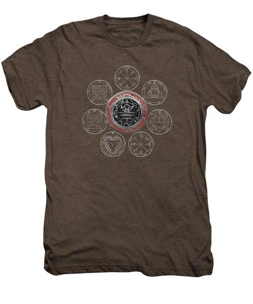 Silver Seal Of Solomon Over Seven Pentacles Of Saturn On Black Canvas  Men's Premium T-Shirt