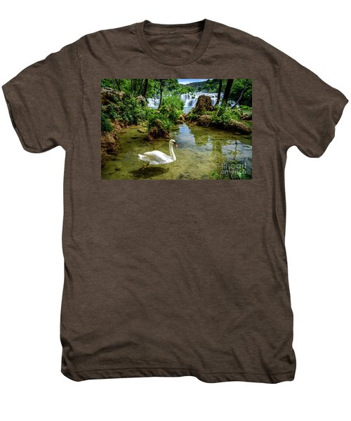 Swan In The Waterfalls Of Skradinski Buk At Krka National Park In Croatia Men's Premium T-Shirt