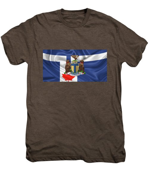 Toronto - Coat Of Arms Over City Of Toronto Flag  Men's Premium T-Shirt