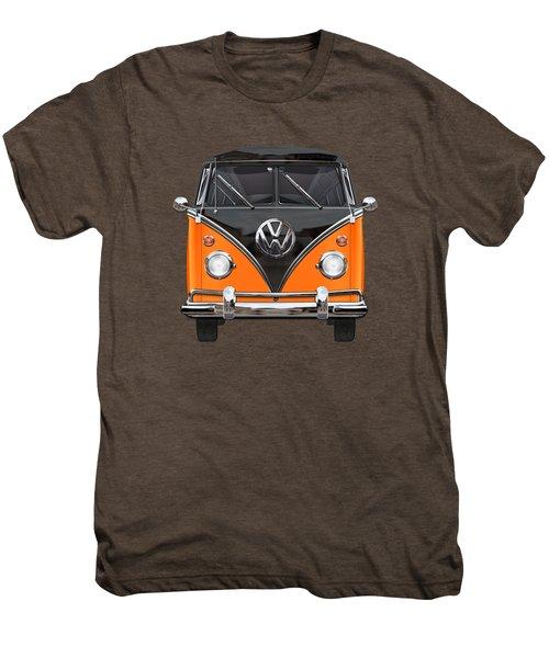 Volkswagen Type 2 - Black And Orange Volkswagen T 1 Samba Bus Over Blue Men's Premium T-Shirt