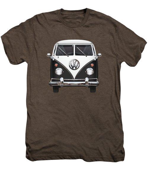 Volkswagen Type 2 - Black And White Volkswagen T 1 Samba Bus On Red  Men's Premium T-Shirt