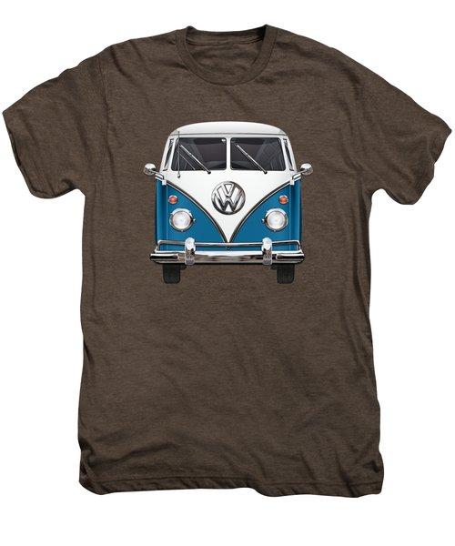 Volkswagen Type 2 - Blue And White Volkswagen T 1 Samba Bus Over Orange Canvas  Men's Premium T-Shirt