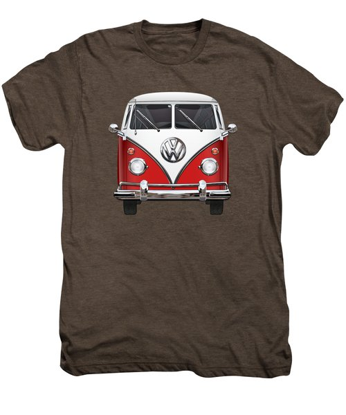 Volkswagen Type 2 - Red And White Volkswagen T 1 Samba Bus Over Green Canvas  Men's Premium T-Shirt