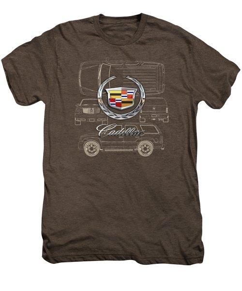 Cadillac 3 D Badge Over Cadillac Escalade Blueprint  Men's Premium T-Shirt