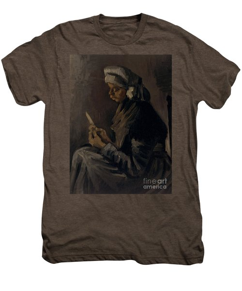 The Potato Peeler, 1885 Men's Premium T-Shirt by Vincent Van Gogh