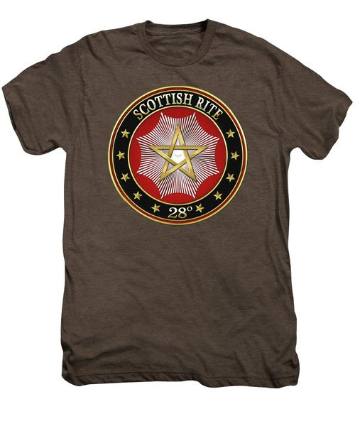 28th Degree - Knight Commander Of The Temple Jewel On Red Leather Men's Premium T-Shirt