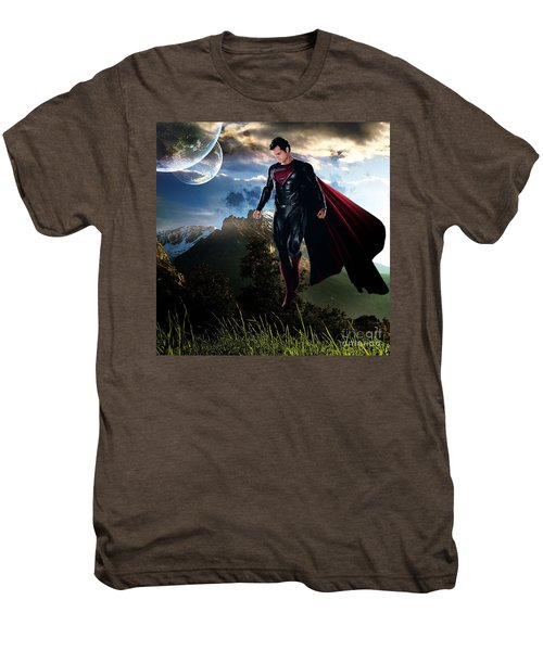Men's Premium T-Shirt featuring the mixed media Superman by Marvin Blaine