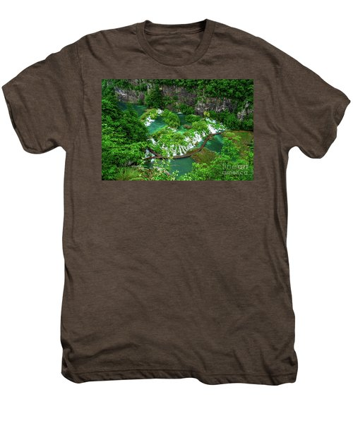 Above The Paths And Waterfalls At Plitvice Lakes National Park, Croatia Men's Premium T-Shirt