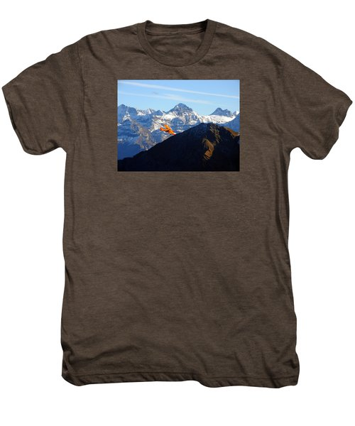 Airplane In Front Of The Alps Men's Premium T-Shirt