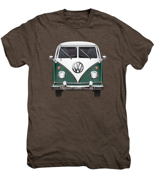 Volkswagen Type 2 - Green And White Volkswagen T 1 Samba Bus Over Red Canvas  Men's Premium T-Shirt