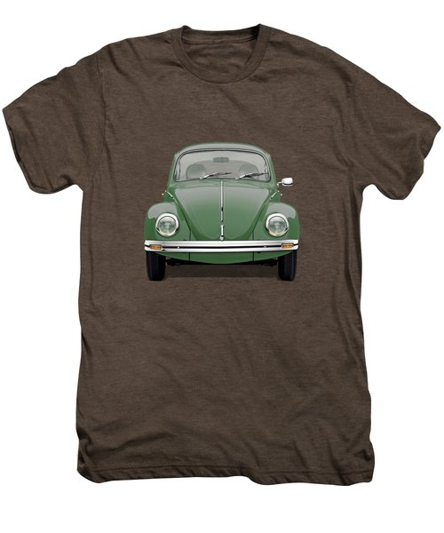Volkswagen Type 1 - Green Volkswagen Beetle On Red Canvas Men's Premium T-Shirt