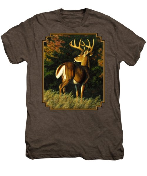 Whitetail Buck - Indecision Men's Premium T-Shirt by Crista Forest