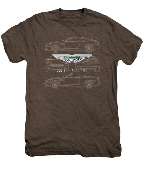 Aston Martin 3 D Badge Over Aston Martin D B 9 Blueprint Men's Premium T-Shirt
