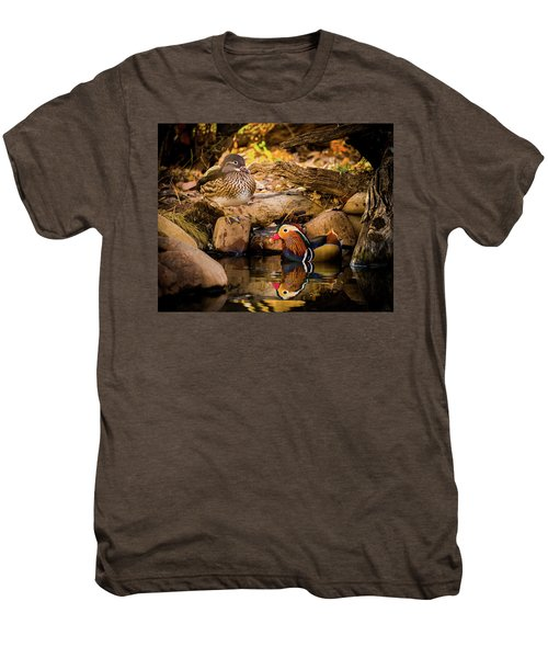 At The Waters Edge - Mandarin Ducks Men's Premium T-Shirt