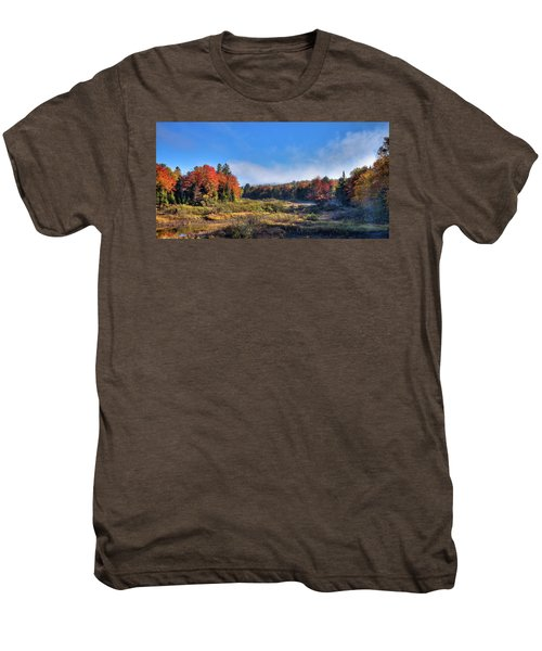 Men's Premium T-Shirt featuring the photograph Autumn Panorama At The Green Bridge by David Patterson