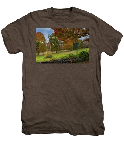 Men's Premium T-Shirt featuring the photograph Autumn Windmill by Bill Wakeley
