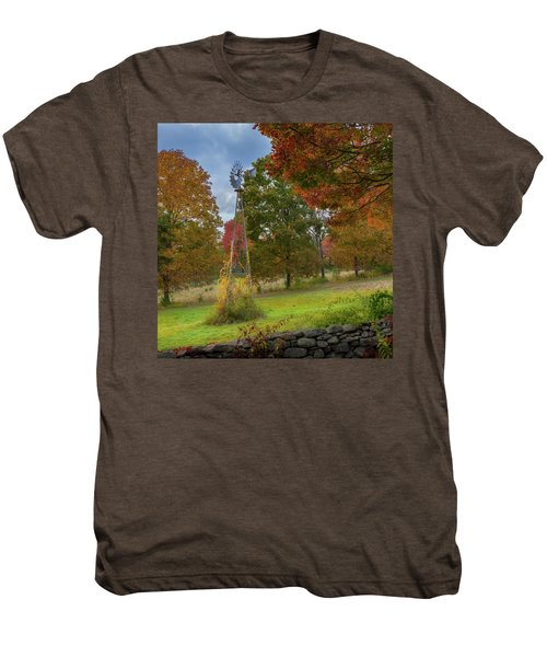 Men's Premium T-Shirt featuring the photograph Autumn Windmill Square by Bill Wakeley