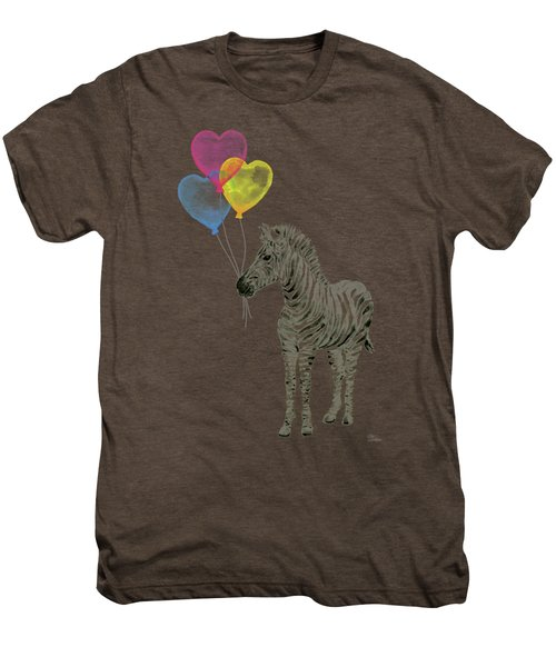Baby Zebra Watercolor Animal With Balloons Men's Premium T-Shirt