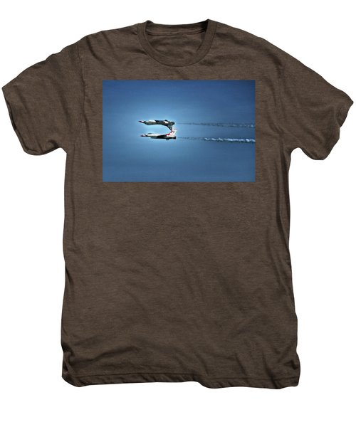 Men's Premium T-Shirt featuring the photograph Back To Back Thunderbirds Over The Beach by Bill Swartwout Fine Art Photography