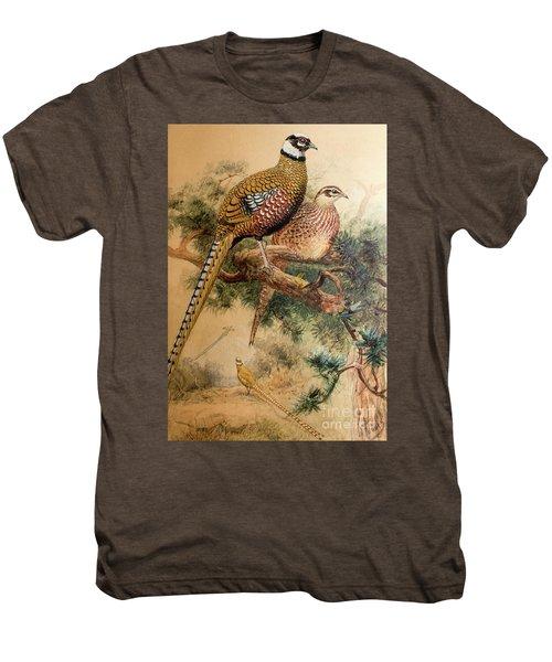 Bar-tailed Pheasant Men's Premium T-Shirt by Joseph Wolf