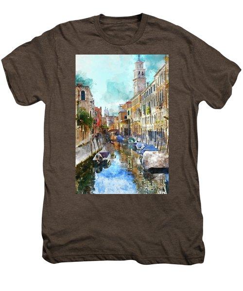 Beautiful Boats In Venice, Italy Men's Premium T-Shirt