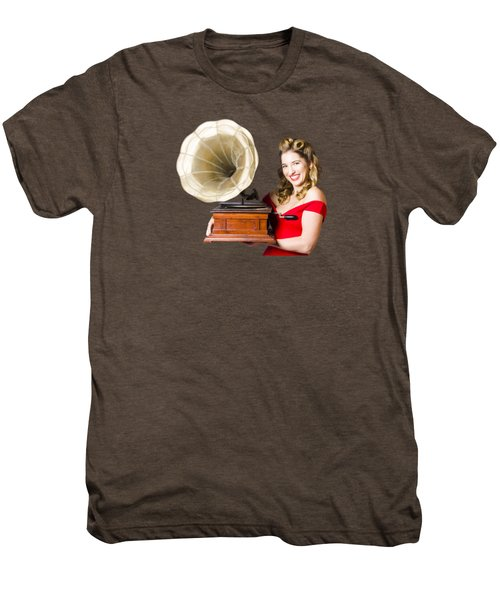 Beautiful Woman With Gramophone Isolated On White Men's Premium T-Shirt