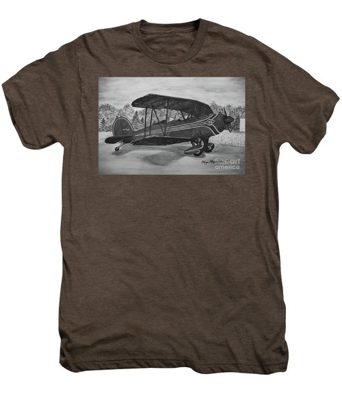 Biplane In Black And White Men's Premium T-Shirt