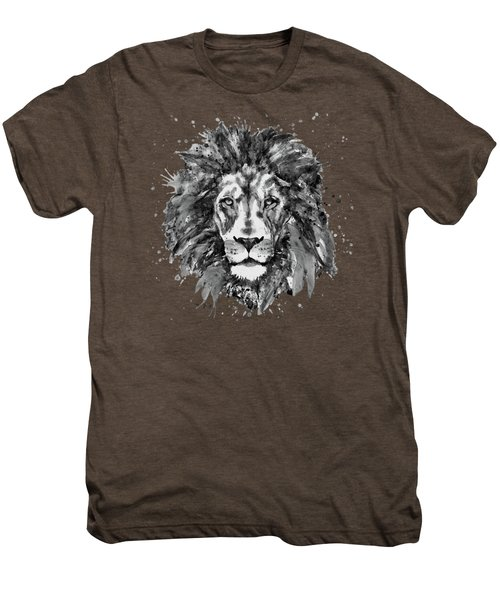 Black And White Lion Head  Men's Premium T-Shirt