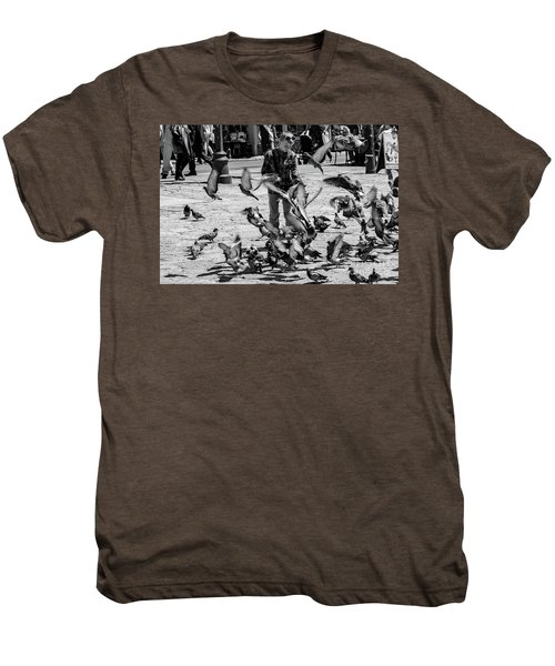Black And White Of Boy Feeding Pigeons In Sarajevo, Bosnia And Herzegovina  Men's Premium T-Shirt