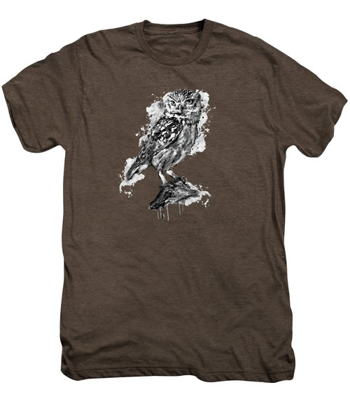 Black And White Owl Men's Premium T-Shirt