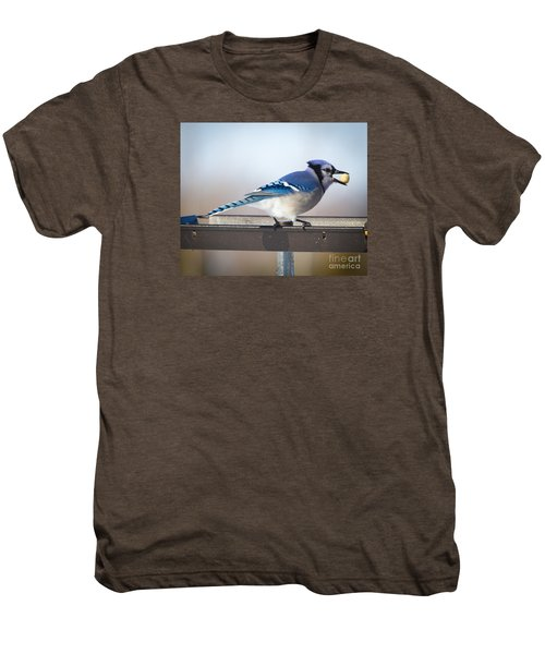 Blue Jay With A Mouth Full Men's Premium T-Shirt