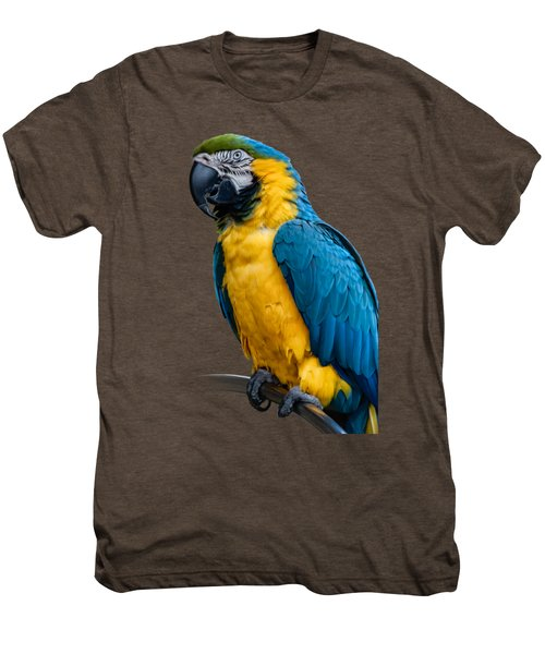 Blue Yellow Macaw No.1 Men's Premium T-Shirt by Mark Myhaver
