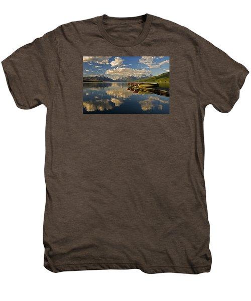 Boats At Lake Mcdonald Men's Premium T-Shirt