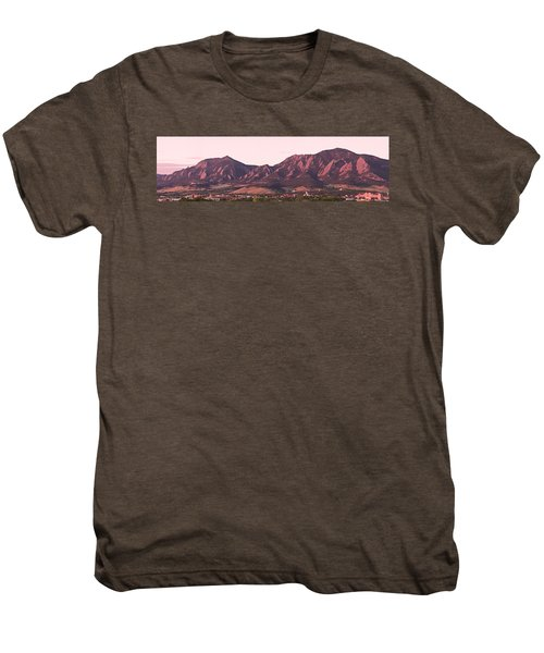 Boulder Colorado Flatirons 1st Light Panorama Men's Premium T-Shirt