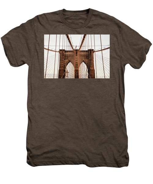 Men's Premium T-Shirt featuring the photograph Brooklyn Bridge by MGL Meiklejohn Graphics Licensing