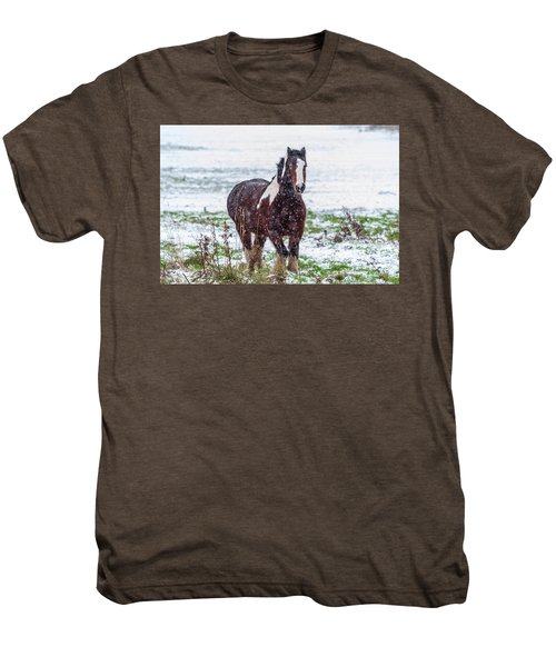 Brown Horse Galloping Through The Snow Men's Premium T-Shirt