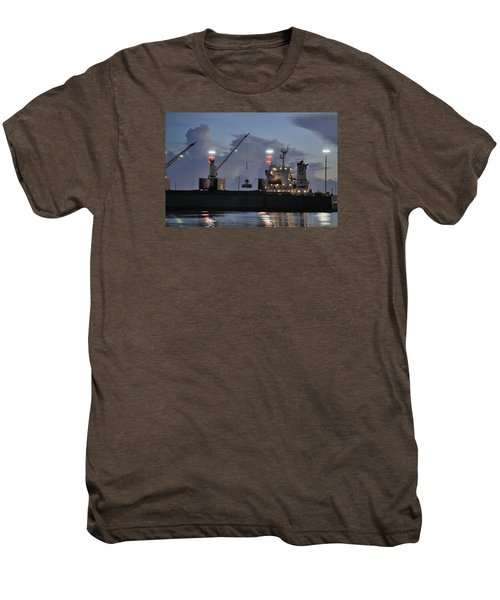 Bulk Cargo Carrier Loading At Dusk Men's Premium T-Shirt