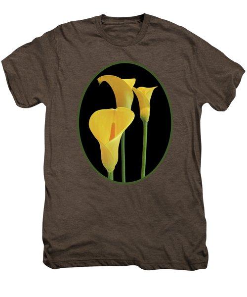 Calla Lilies - Yellow On Black Men's Premium T-Shirt