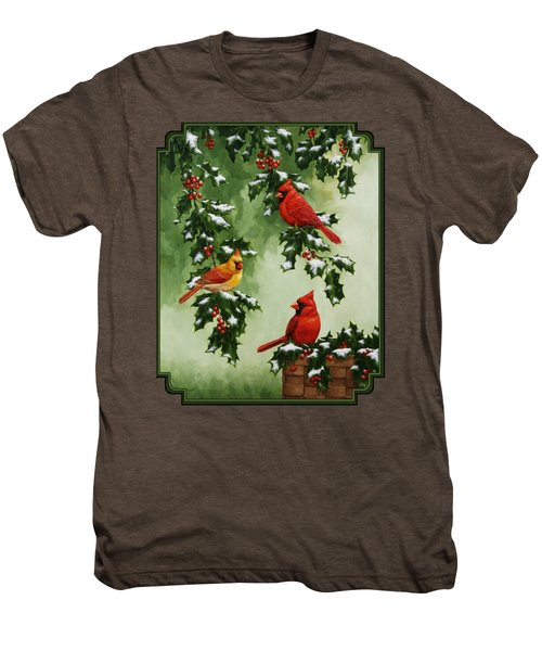 Cardinals And Holly - Version With Snow Men's Premium T-Shirt by Crista Forest