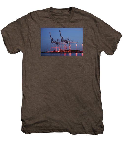 Cargo Cranes At Night Men's Premium T-Shirt