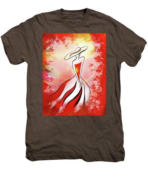 Charming Lady In Red Men's Premium T-Shirt by Irina Sztukowski