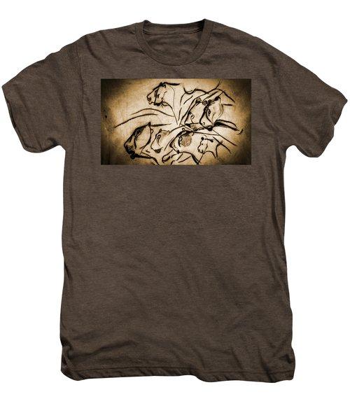 Chauvet Cave Lions Burned Leather Men's Premium T-Shirt