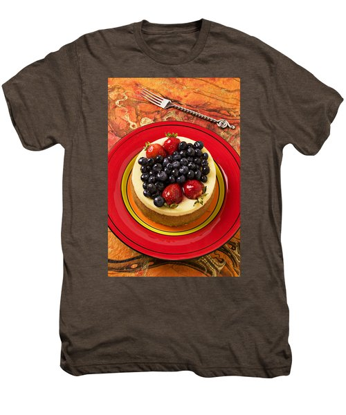 Cheesecake On Red Plate Men's Premium T-Shirt by Garry Gay
