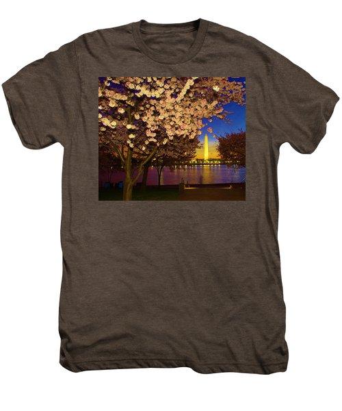 Cherry Blossom Washington Monument Men's Premium T-Shirt