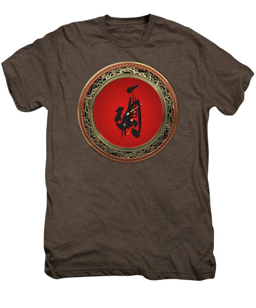 Chinese Zodiac - Year Of The Rooster On Red Velvet Men's Premium T-Shirt