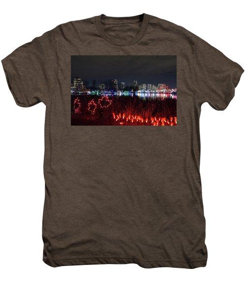 Christmas Lights At Lafarge Lake In City Of Coquitlam Men's Premium T-Shirt