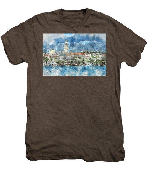 City Of Split In Croatia With Birds Flying In The Sky Men's Premium T-Shirt