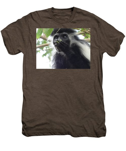 Colobus Monkey Eating Leaves In A Tree 2 Men's Premium T-Shirt