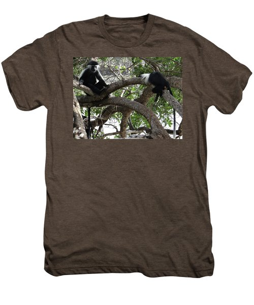 Colobus Monkeys Sitting In A Tree Men's Premium T-Shirt