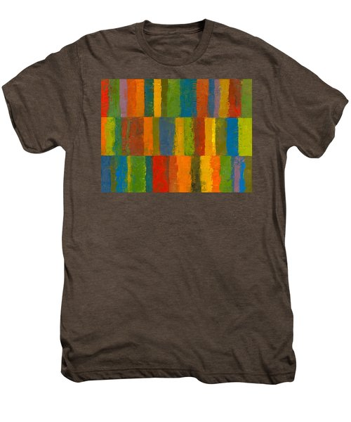 Men's Premium T-Shirt featuring the painting Color Collage With Stripes by Michelle Calkins